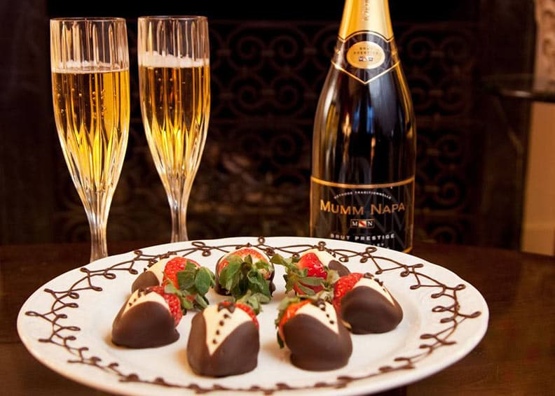 Covered Strawberries and sparkling wine