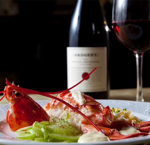 Plate of prepared lobster with red wine in background
