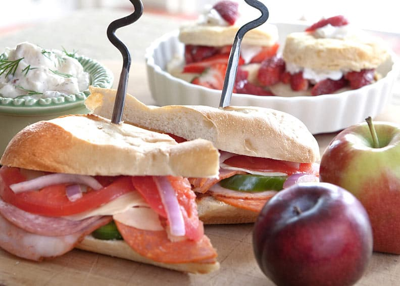 Sandwiches with fruit for a picnic lunch
