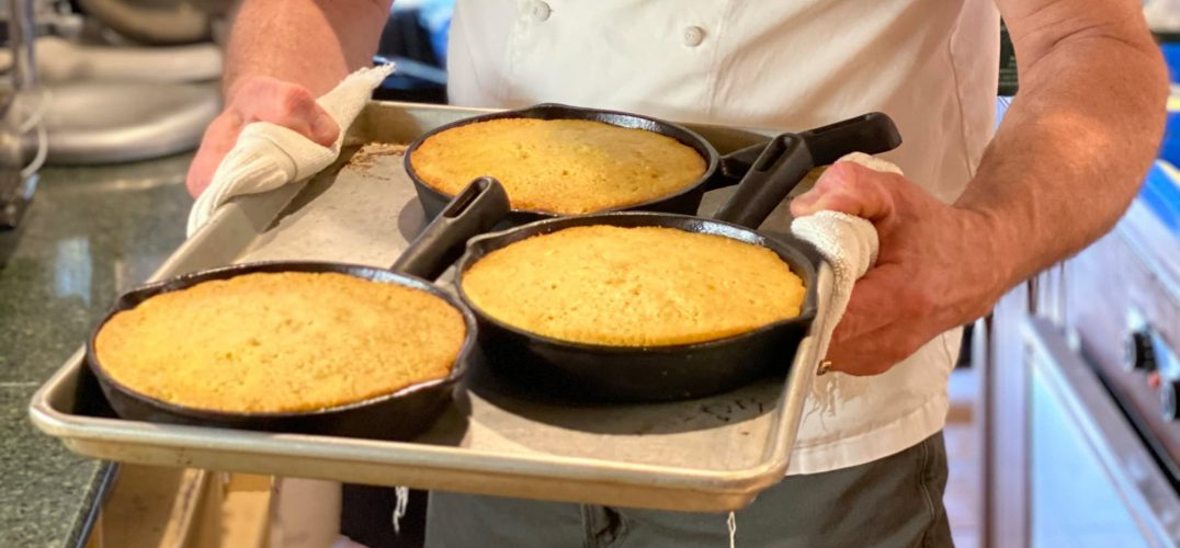 Cornbread in skillets