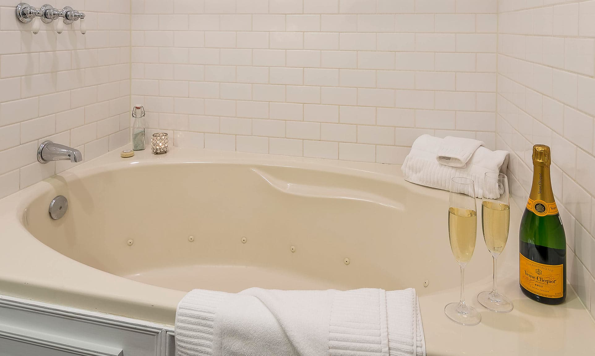 Jetted Tub with Champagne in the Cottage Suite at our Coastal Maine B&B