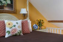 Pillows on Bed in the Garden Suite at our Midcoast Maine bed and breakfast