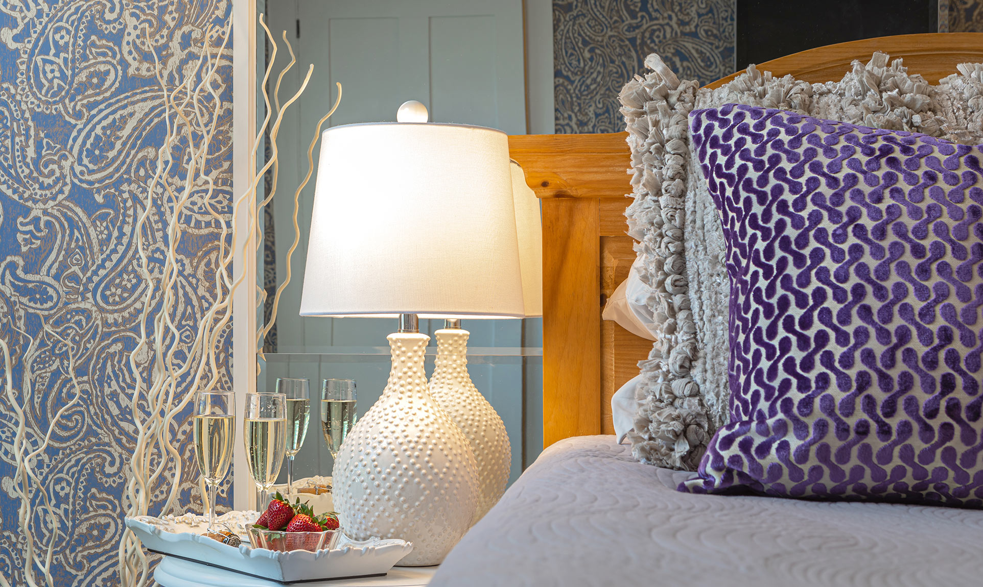 Bed detail in Lavender Suite