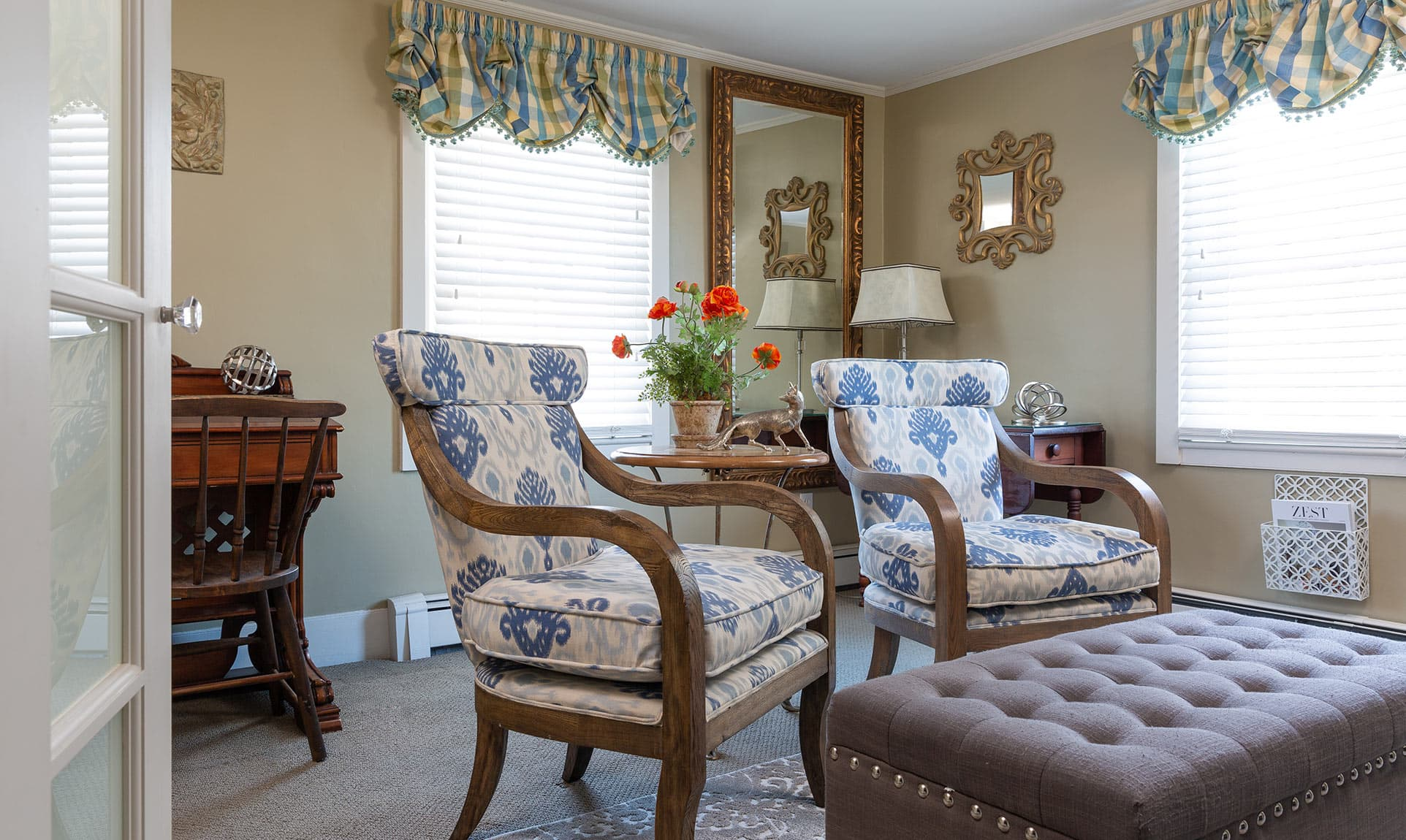 Two chairs and ottoman in Sitting Room