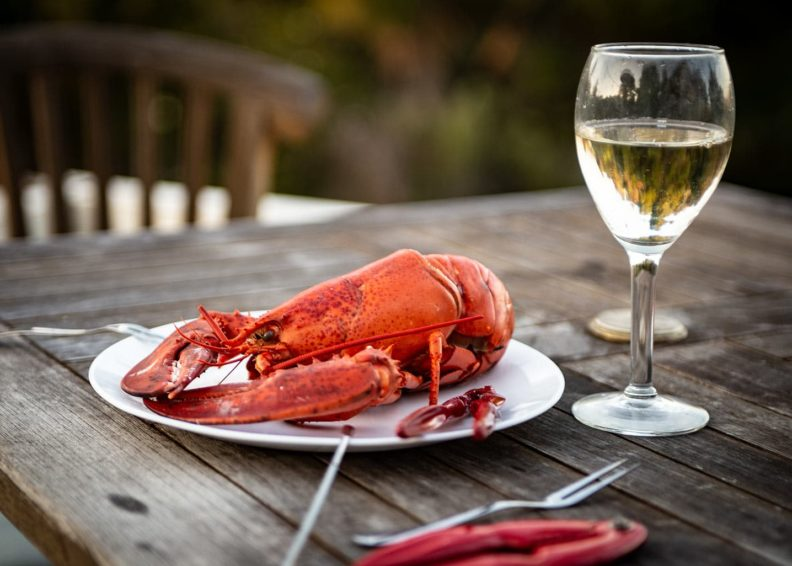 Lobster and glass of white wine