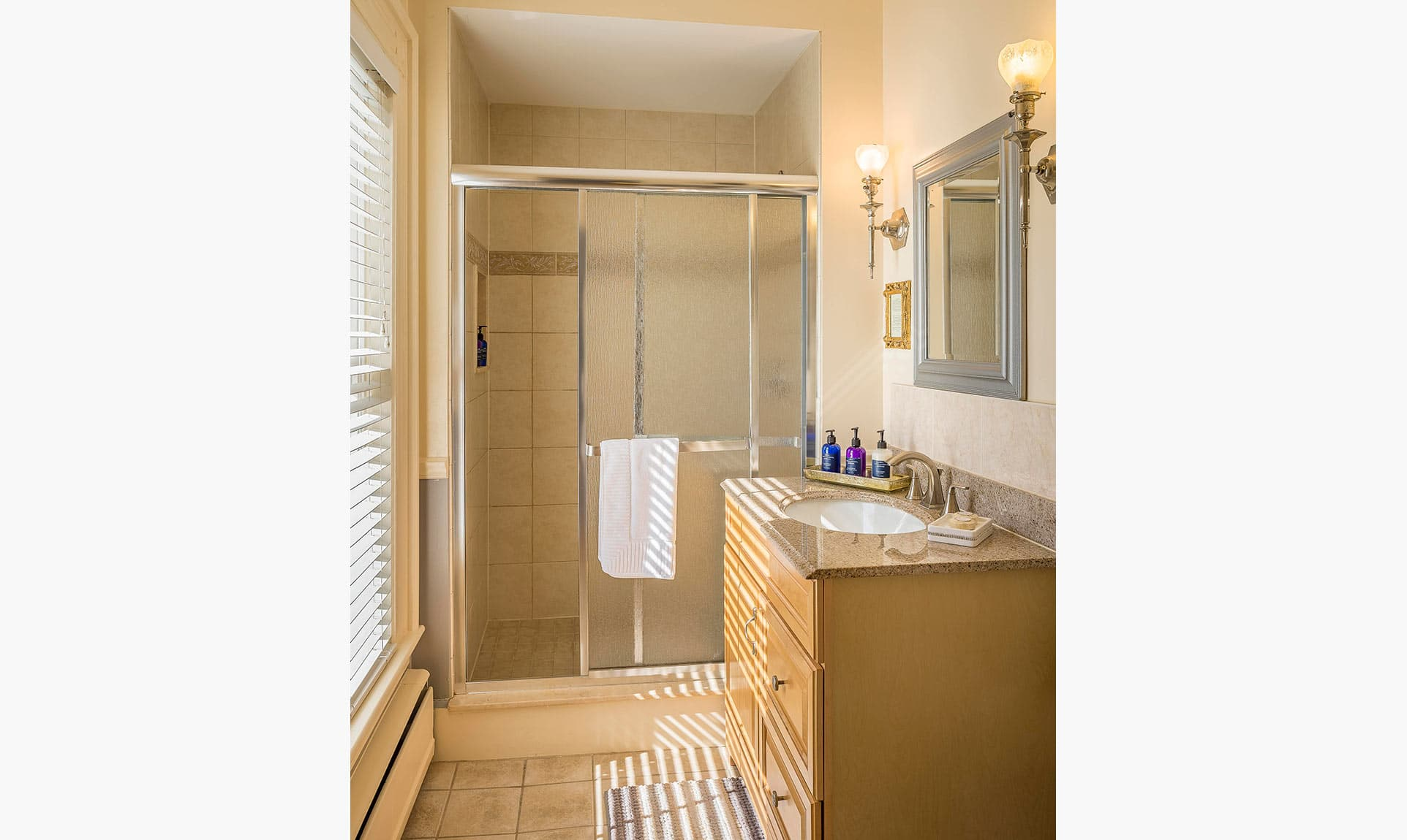 Walk-in Shower at our Midcoast Maine boutique hotel