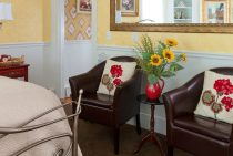 Two chairs in the Rose Hip Bedroom at our Maine Coast B&B
