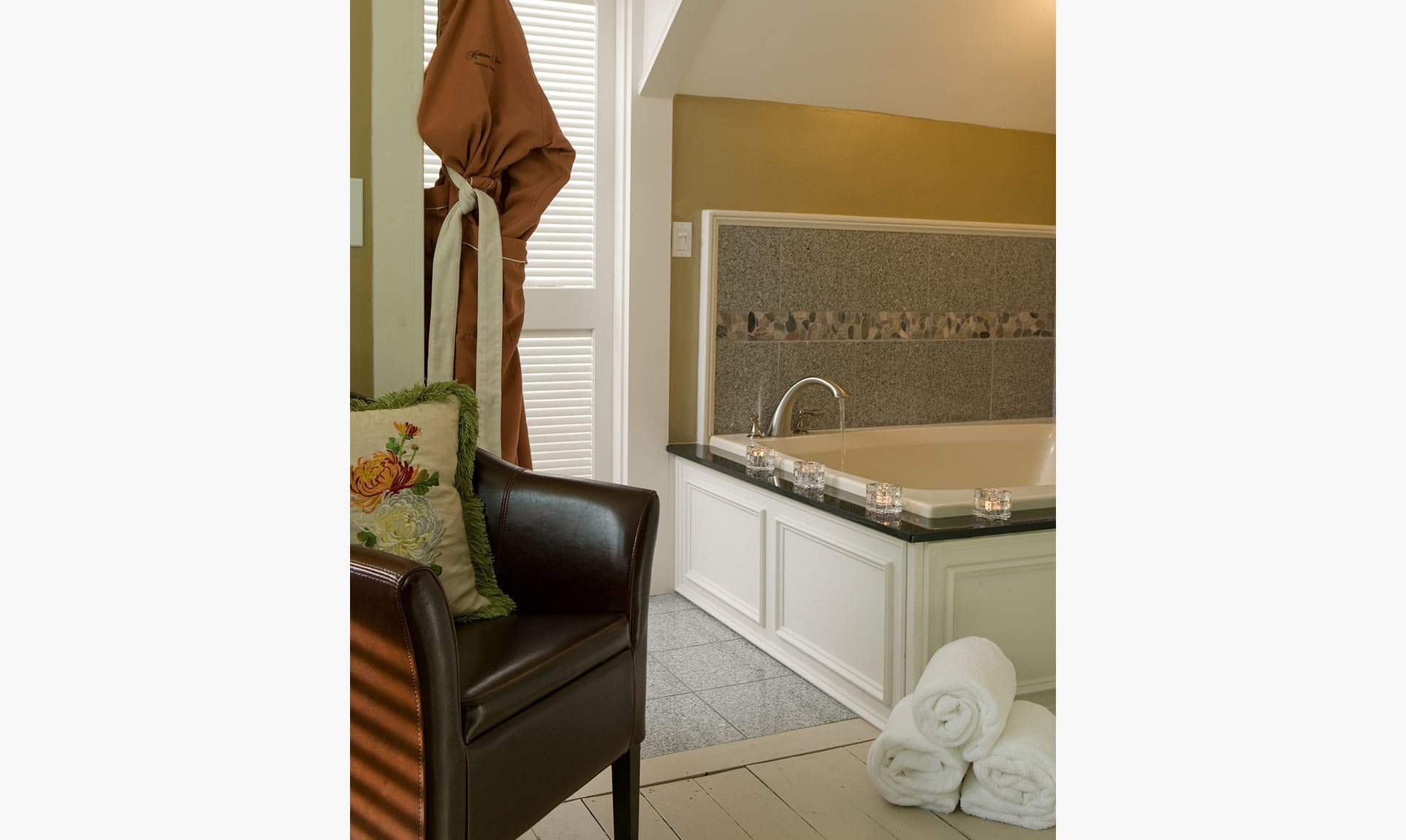 2-Person Jetted Tub in the Sunflower Bathroom at our Camden, Maine bed and breakfast