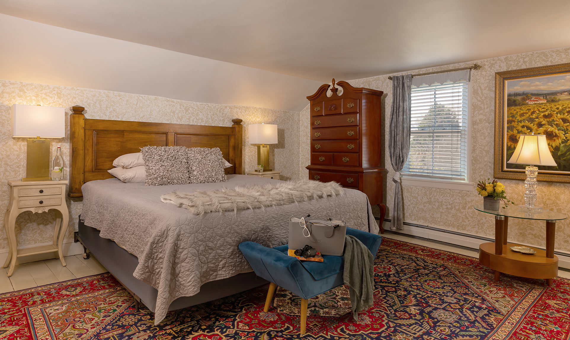 Bed and furniture in the Sunflower Room at our Camden B&B