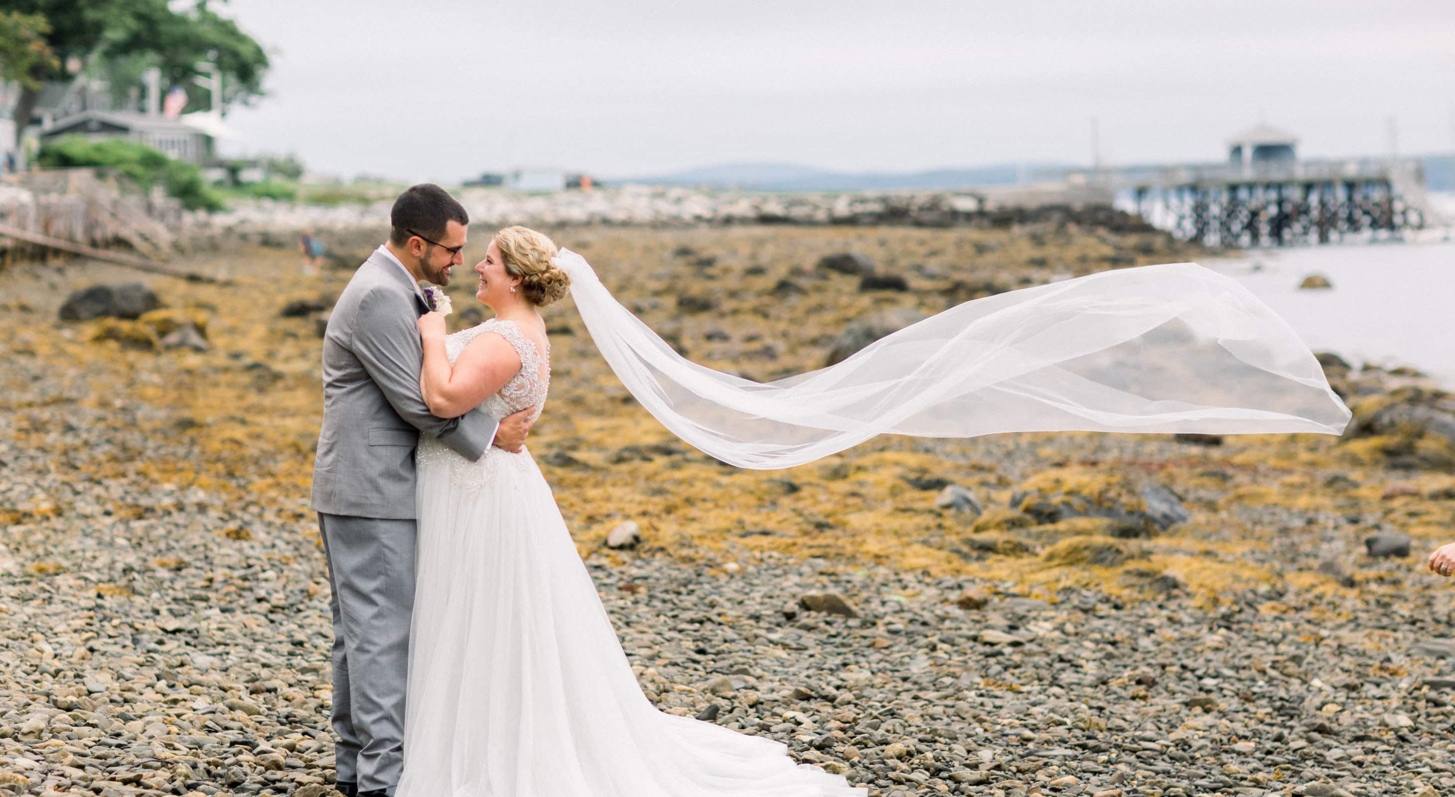 Bride and Groom with Maine Pier in Distance