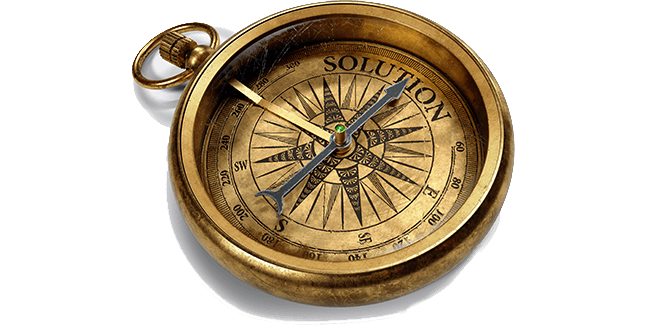 Compass pointing North to a Solution