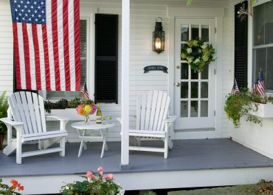 Private Patio Deck with Two Adirondack Chairs