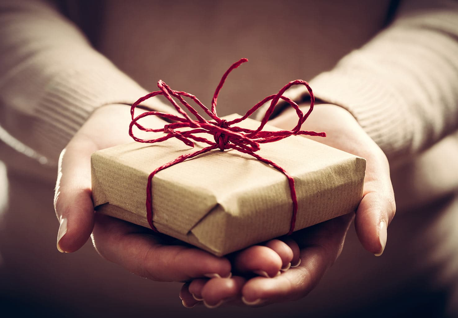 Hands giving a present with red bow